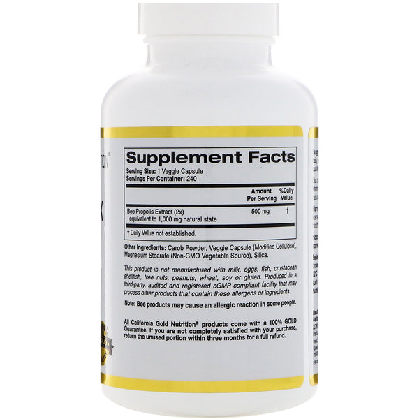 California Gold Nutrition, Bee Propolis 2X, Concentrated Extract, 500 mg, 240 Veggie Caps - The Supplement Shop