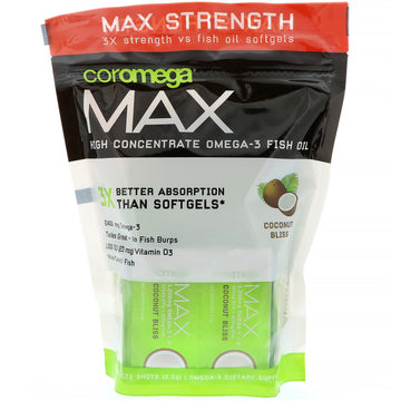 Coromega, Max, High Concentrate Omega-3 Fish Oil, Coconut Bliss, 60 Squeeze Shots, 2.5 g Each