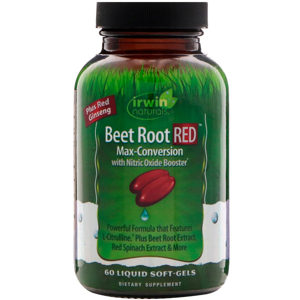 Irwin Naturals, Beet Root RED, Max-Conversion with Nitric Oxide Booster, 60 Liquid Soft-Gels - The Supplement Shop