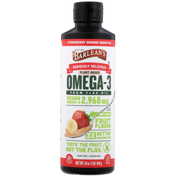 Barlean's, Seriously Delicious, Omega-3 from Flax Oil, Strawberry Banana Smoothie, 16 oz (454 g)