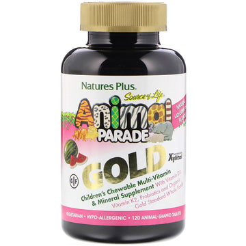 Nature's Plus, Source of Life, Animal Parade Gold, Children's Chewable Multi-Vitamin & Mineral Supplement, Natural Watermelon Flavor, 120 Animal-Shaped Tablets