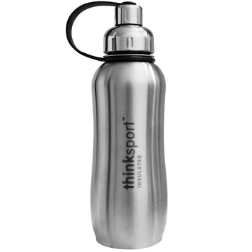 Think, Thinksport, Insulated Sports Bottle, Silver, 25 oz (750 ml)