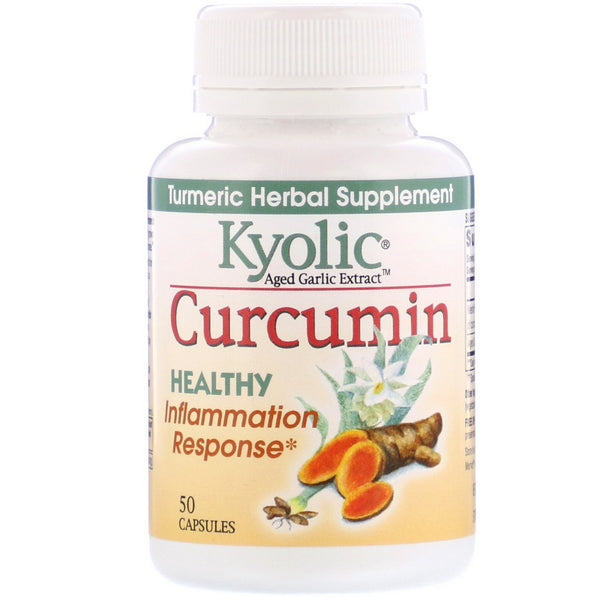 Kyolic, Aged Garlic Extract, Curcumin, 50 Capsules - The Supplement Shop