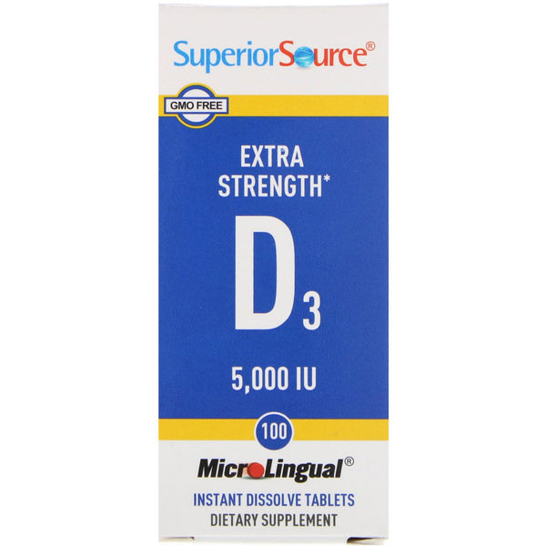 Superior Source, Extra Strength Vitamin D3, 5,000 IU, 100 MicroLingual Instant Dissolve Tablets