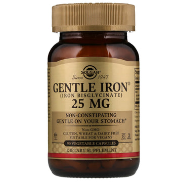 Solgar, Gentle Iron, 25 mg, 90 Vegetable Capsules