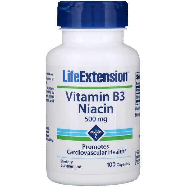 Life Extension, Vitamin B3 Niacin, 500 mg, 100 Capsules