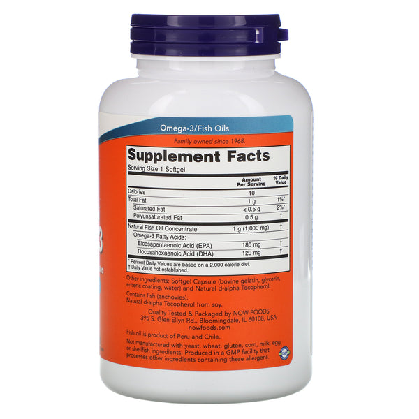 Now Foods, Omega-3, Molecularly Distilled, 180 Softgels