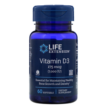 Life Extension, Vitamin D3, 175 mcg (7,000 IU), 60 Softgels