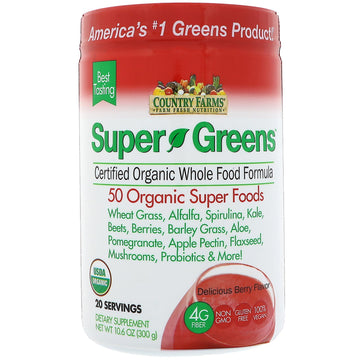 Country Farms, Super Greens, Certified Organic Whole Food Formula, Delicious Berry Flavor, 10.6 oz (300 g)
