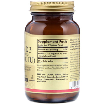 Solgar, Vitamin D3 (Cholecalciferol), 125 mcg (5000 IU), 120 Vegetable Capsules