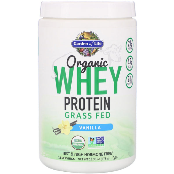 Garden of Life, Organic Whey Protein Grass Fed, Vanilla, 13.33 oz (378 g) - The Supplement Shop