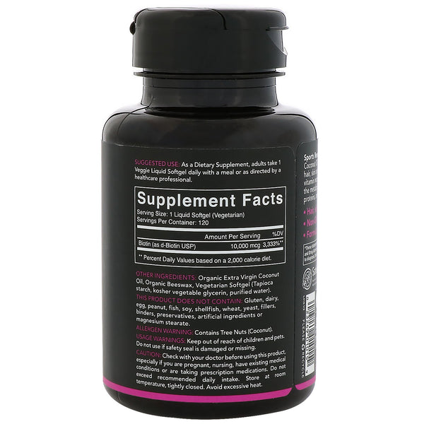Sports Research, Biotin with Coconut Oil, 10,000 mcg, 120 Veggie Softgels