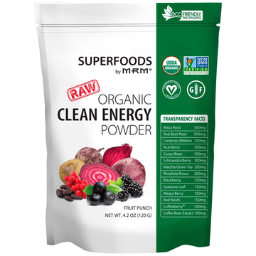 MRM, Organic Clean Energy Powder, Fruit Punch, 4.2 oz (120 g)