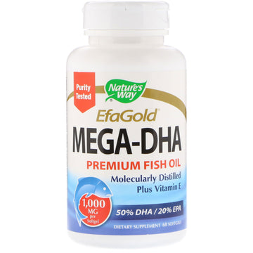 Nature's Way, EfaGold, Mega-DHA, 1000 mg, 60 Softgels