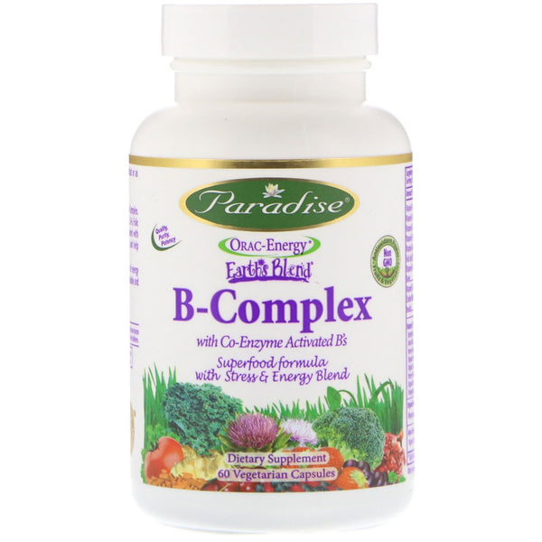 Paradise Herbs, Orac-Energy, Earth's Blend, B-Complex with Co-Enzyme Activated B's, 60 Vegetarian Capsules