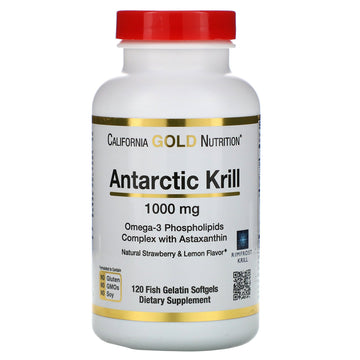 California Gold Nutrition, Antarctic Krill Oil, Natural Strawberry & Lemon Flavor, 1,000 mg, 120 Fish Gelatin Softgels
