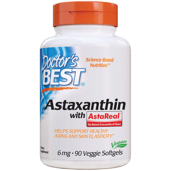 Doctor's Best, Astaxanthin with AstaReal, 6 mg, 90 Veggie Softgels