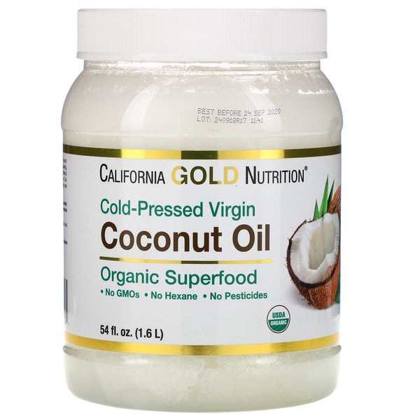 California Gold Nutrition, Cold-Pressed Organic Virgin Coconut Oil, 54 fl oz (1.6 L)