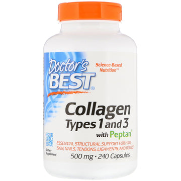 Doctor's Best, Collagen Types 1 and 3 with Peptan, 500 mg, 240 Capsules