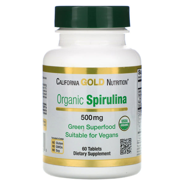 California Gold Nutrition, Organic Spirulina, USDA Certified, 500 mg, 60 Tablets