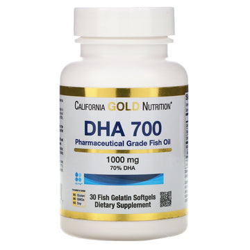 California Gold Nutrition, DHA 700 Fish Oil, Pharmaceutical Grade, 1,000 mg, 30 Fish Gelatin Softgels