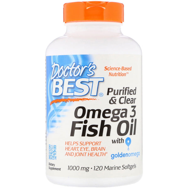 Doctor's Best, Purified & Clear Omega 3 Fish Oil with Goldenomega, 1,000 mg, 120 Marine Softgels