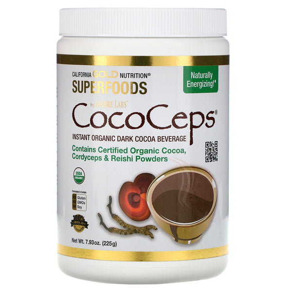 California Gold Nutrition, SUPERFOODS - CocoCeps, Organic Cocoa, Cordyceps & Reishi, 7.93 oz (225 g)