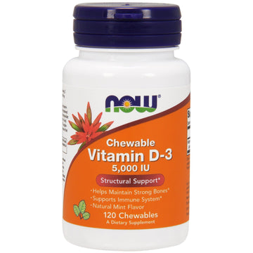 Now Foods, Chewable Vitamin D-3, Natural Mint Flavor, 5,000 IU, 120 Chewables