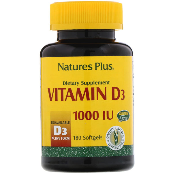Nature's Plus, Vitamin D3, 1000 IU, 180 Softgels - The Supplement Shop