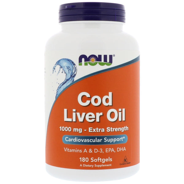 Now Foods, Cod Liver Oil, 1,000 mg, 180 Softgels - The Supplement Shop