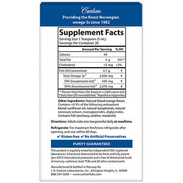 Carlson Labs, Elite DHA, Natural Orange Flavor, 2,270 mg, 3.3 fl oz (100 ml)