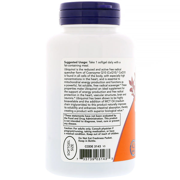Now Foods, Ubiquinol, 100 mg, 120 Softgels - The Supplement Shop