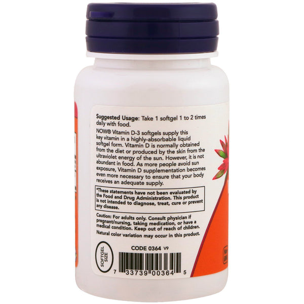 Now Foods, Vitamin D-3, 400 IU, 180 Softgels - The Supplement Shop