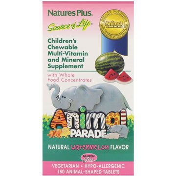 Nature's Plus, Source of Life, Animal Parade, Children's Chewable, Natural Watermelon Flavor, 180 Animal-Shaped Tablets