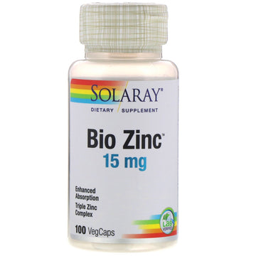 Solaray, Bio Zinc, 15 mg, 100 VegCaps