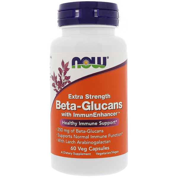 Now Foods, Beta-Glucans, with ImmunEnhancer, Extra Strength, 250 mg, 60 Veg Capsules - The Supplement Shop