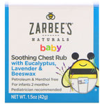 Zarbee's, Baby, Soothing Chest Rub with Eucalyptus, Lavender & Beeswax, 1.5 oz (42 g)