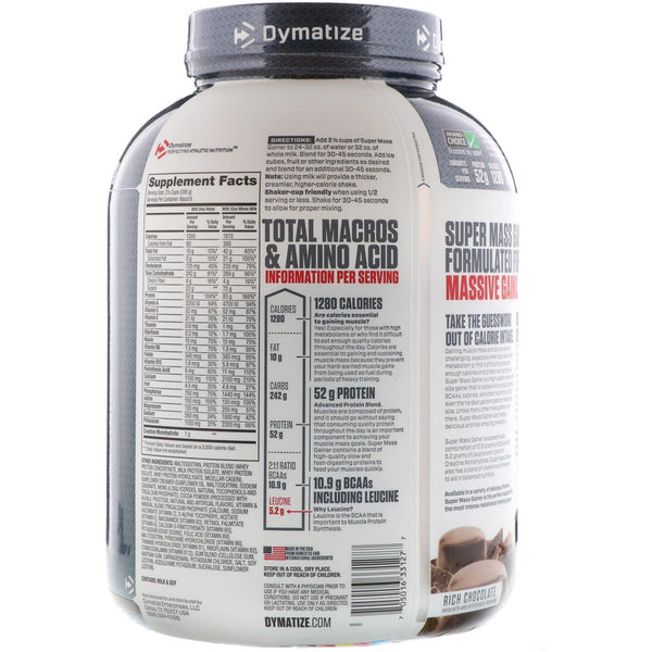 Dymatize Nutrition, Super Mass Gainer, Rich Chocolate, 6 lbs (2.7 kg)