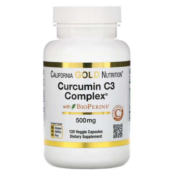 California Gold Nutrition, Curcumin C3 Complex with BioPerine, 500 mg, 120 Veggie Capsules - The Supplement Shop