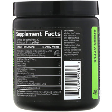 JNX Sports, The Shadow, Pre-Workout, Green Apple, 9.5 oz (270 g)