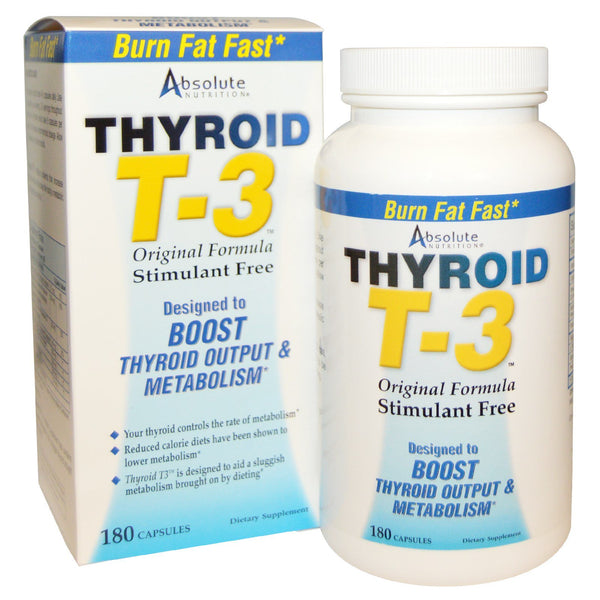 Absolute Nutrition, Thyroid T-3, Original Formula, 180 Capsules