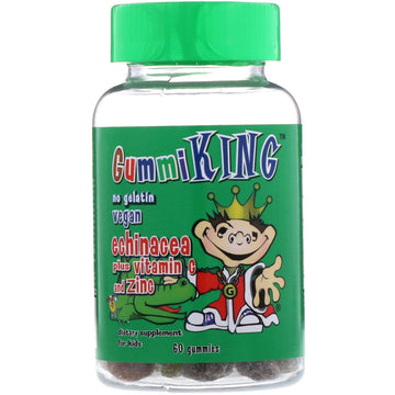 GummiKing, Echinacea Plus Vitamin C+ Zinc for Kids, Strawberry, Orange, Lemon, Grape, Cherry and Grapefruit, 60 Gummies