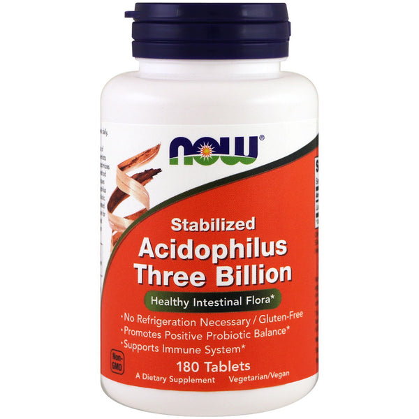 Now Foods, Stabilized Acidophilus Three Billion, 180 Tablets