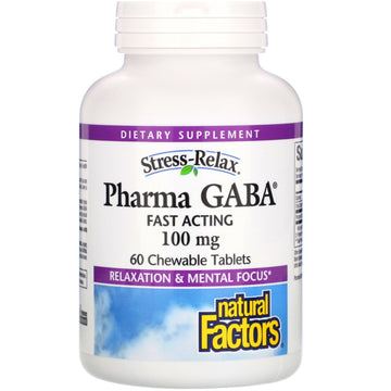Natural Factors, Stress-Relax, Pharma GABA, 100 mg, 60 Chewable Tablets