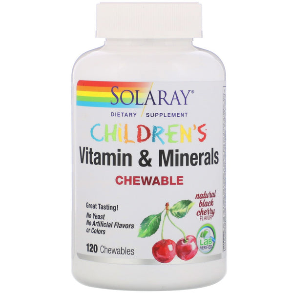 Solaray, Children's Chewable Vitamin and Minerals, Natural Black Cherry Flavor, 120 Chewables - The Supplement Shop