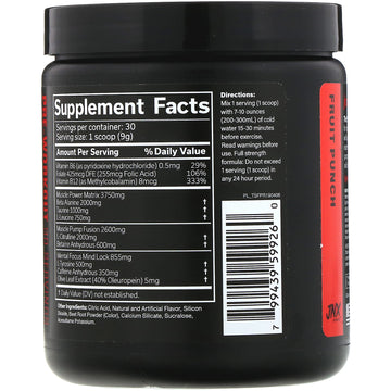 JNX Sports, The Shadow, Pre-Workout, Fruit Punch,  9.5 oz (270 g)