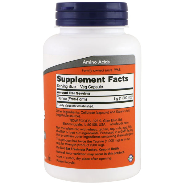 Now Foods, Taurine, Double Strength, 1,000 mg, 100 Veg Capsules