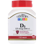 21st Century, Vitamin D3, 125 mcg (5,000 IU), 110 Tablets - The Supplement Shop