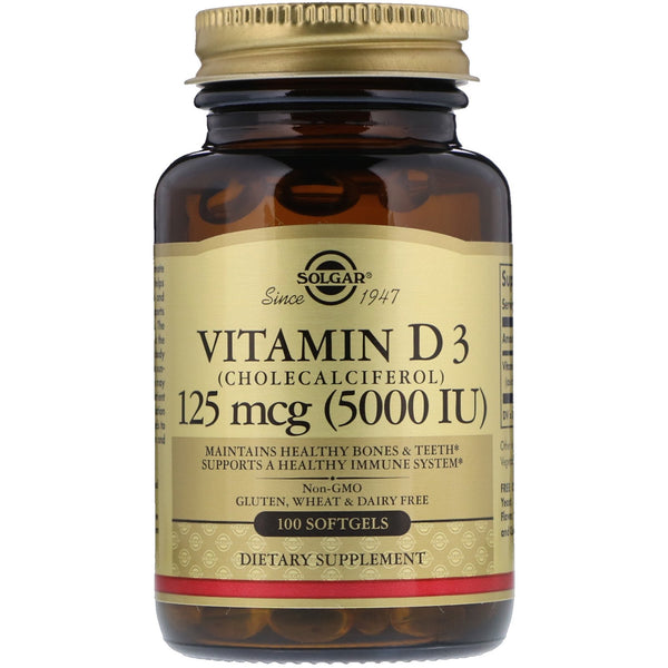 Solgar, Vitamin D3 (Cholecalciferol), 125 mcg (5,000 IU), 100 Softgels - The Supplement Shop