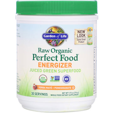 Garden of Life, RAW Organic Perfect Food Energizer, Yerba Mate- Pomegranate, 9.73 oz (276 g)